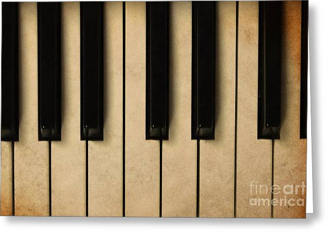 Old Piano Vintage Background Greeting Card by Midiwaves