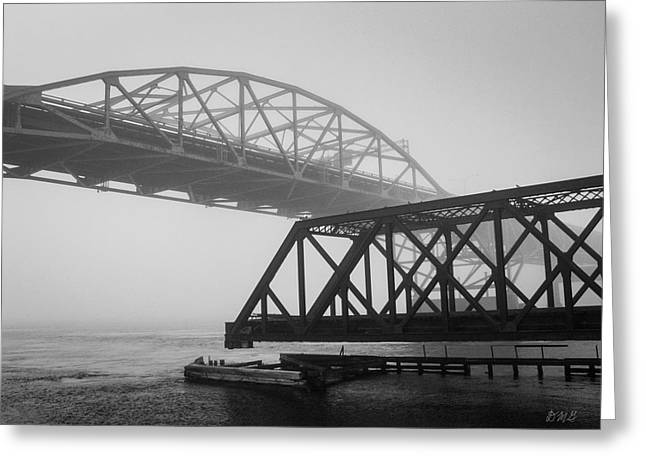 Greeting Card featuring the photograph Old Sakonnet River Bridge II Bw by David Gordon