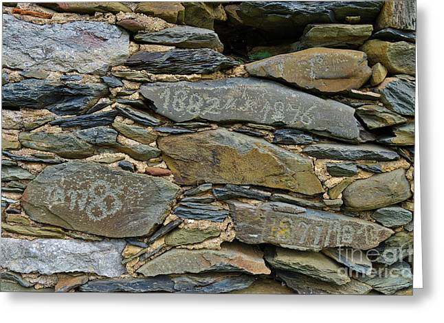 Old Schist Wall With Several Dates From 19th Century. Portugal Greeting Card
