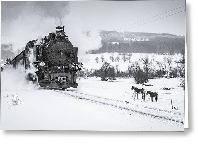 Old Steam Train Puffing Across Winter Greeting Card