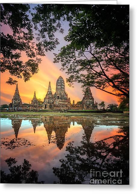 Old Temple Wat Chaiwatthanaram In Greeting Card