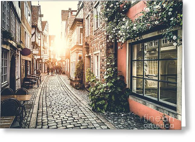 Old Town In Europe At Sunset With Retro Greeting Card