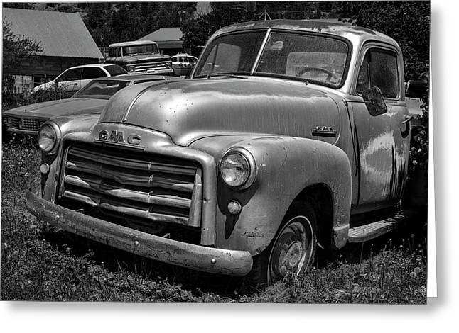 Greeting Card featuring the photograph Old Vehicle Xii Bw Gmc Truck by David Gordon