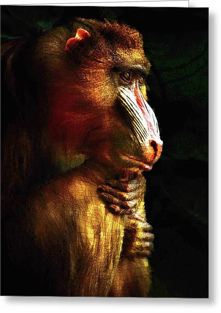 Greeting Card featuring the mixed media Old World Mandrill by Susan Maxwell Schmidt