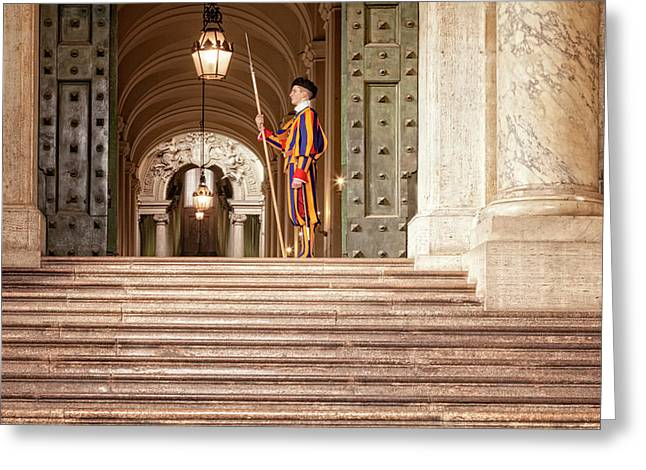 On Guard At The Vatican Greeting Card