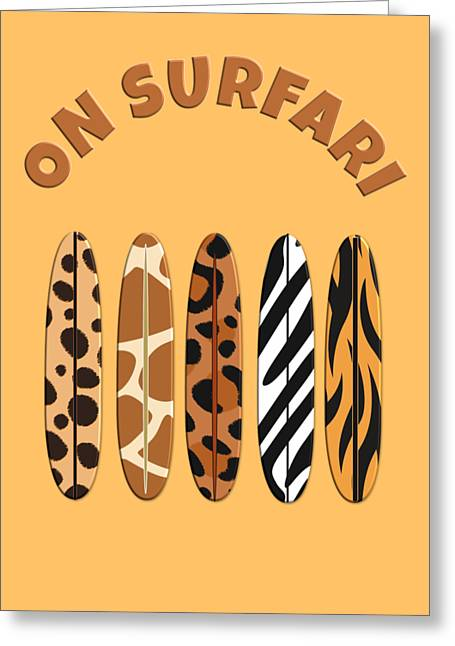 On Surfari Animal Print Surfboards  Greeting Card
