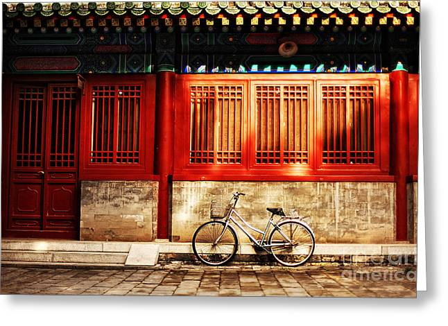 One Bicycle In Front Of Oriental Red Greeting Card