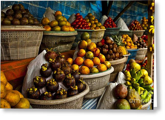 Open Air Fruit Market In The Village Greeting Card