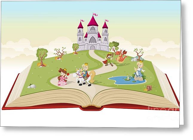 Open Book With Cartoon Princesses And Greeting Card