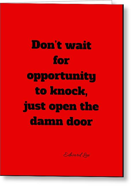 Open The Door      Black On Red Greeting Card