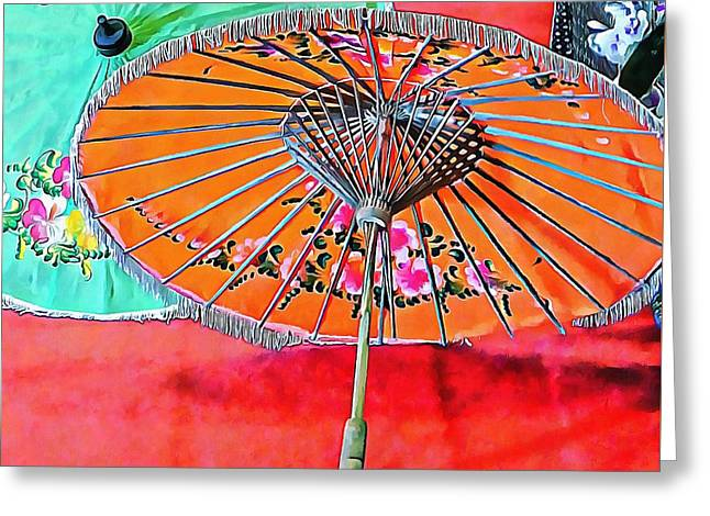 Greeting Card featuring the photograph Orange And Green Oriental Parasols by Dorothy Berry-Lound