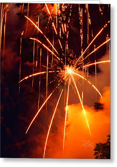 Orange Fireworks Greeting Card