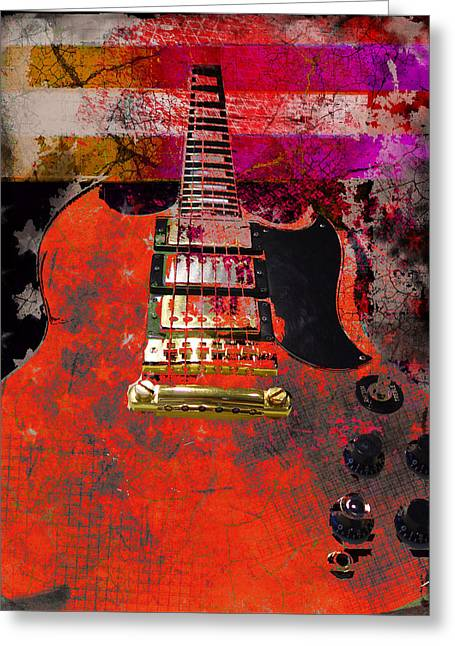 Orange Electric Guitar And American Flag Greeting Card