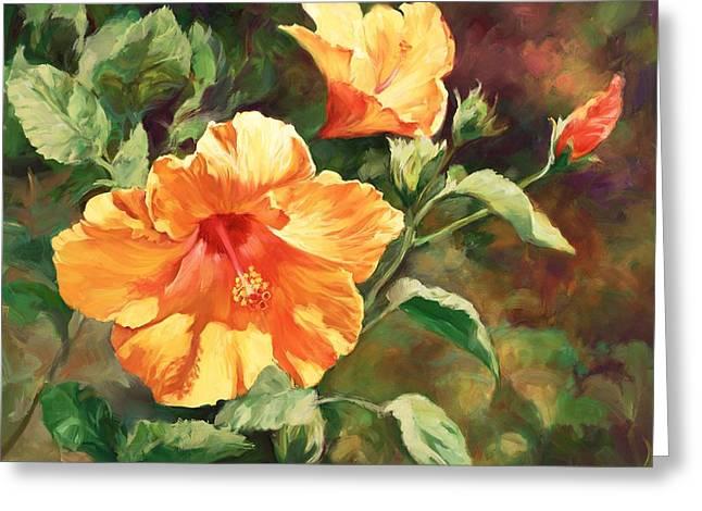 Orange Hibiscus Greeting Card