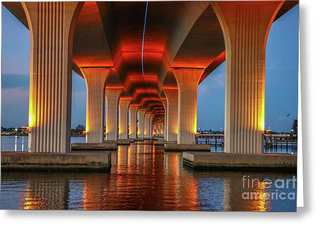 Orange Light Bridge Reflection Greeting Card