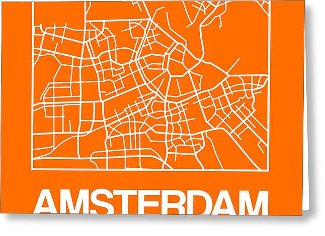 Orange Map Of Amsterdam Greeting Card