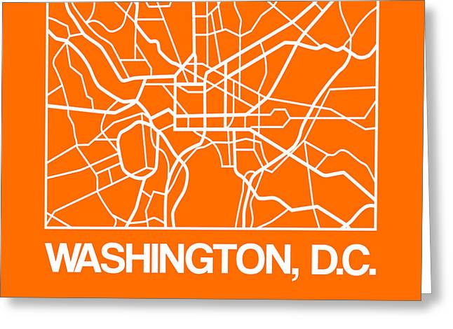 Orange Map Of Washington, D.c. Greeting Card