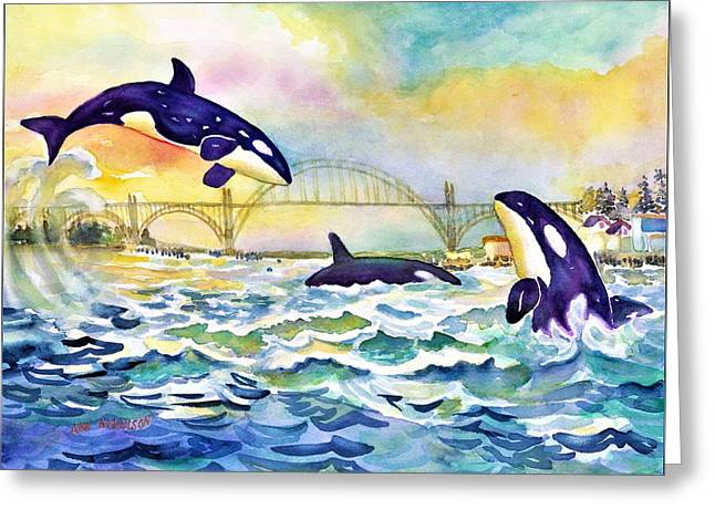 Orcas In Yaquina Bay Greeting Card