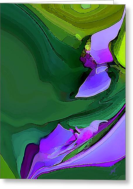 Greeting Card featuring the digital art Orchids And Emeralds by Gina Harrison