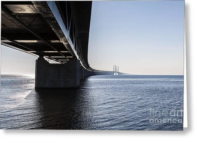 Oresund Bridge,oresunds Bron, Bridge On Greeting Card