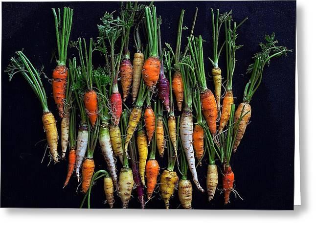 Organic Rainbow Carrots Greeting Card