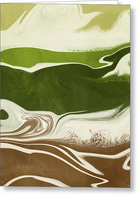 Greeting Card featuring the mixed media Organic Wave 2- Art By Linda Woods by Linda Woods