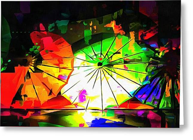 Greeting Card featuring the photograph Oriental Parasols Abstract by Dorothy Berry-Lound