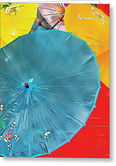 Greeting Card featuring the photograph Oriental Parasols Mixture by Dorothy Berry-Lound