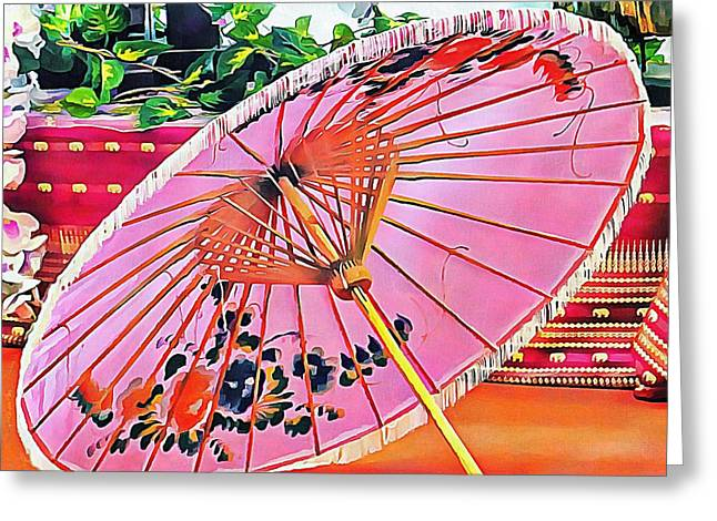 Greeting Card featuring the photograph Oriental Pink Parasol by Dorothy Berry-Lound