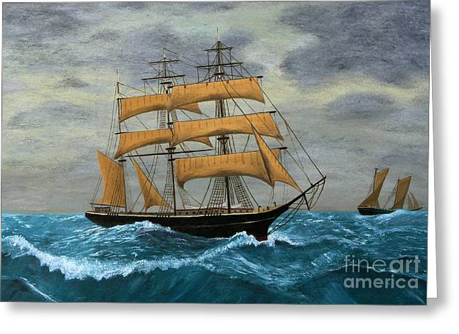 Original Artwork, Clipper Ships At Sea Greeting Card