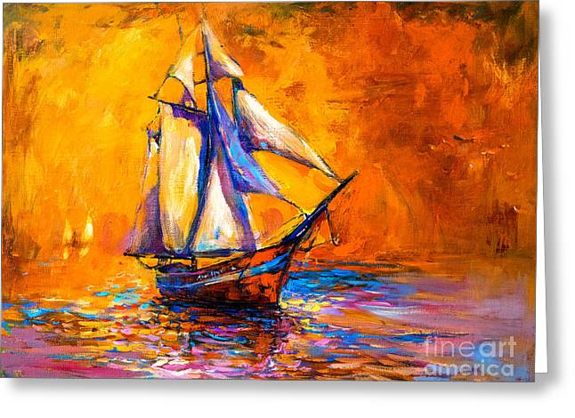 Original Oil Painting On Canvas-sail Greeting Card