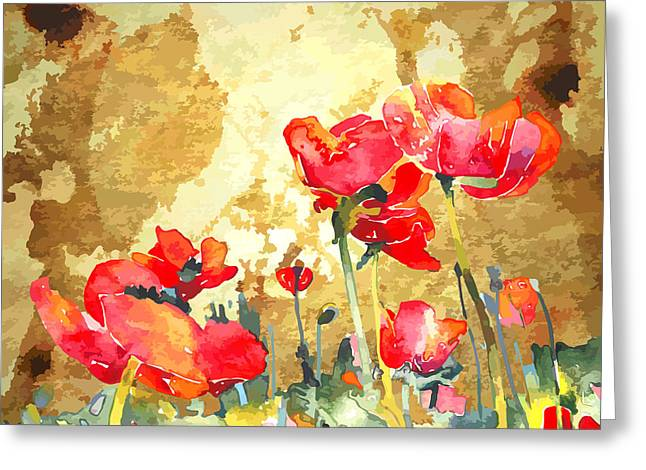 Original Watercolor Poppy Flower In Greeting Card