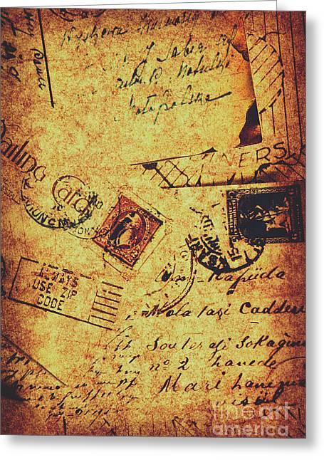 Ornate Postal Grunge Greeting Card