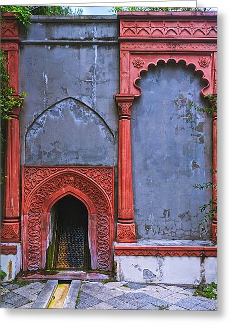Ornate Red Wall Greeting Card
