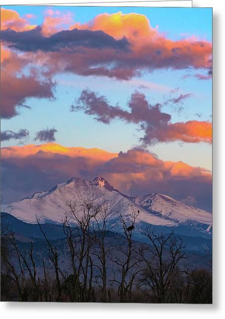 Osprey Perched Beneath A Towering Longs Peak Greeting Card