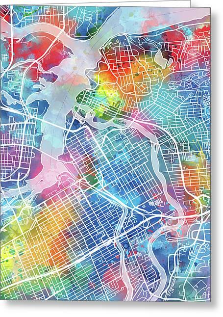 Ottawa Map Watercolor Greeting Card