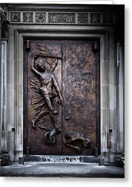 Greeting Card featuring the photograph Our Lady Of Sorrows Doorway Color Version by Brian Carson