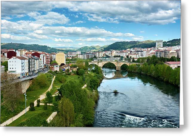 Ourense And The Roman Bridge From The Millennium Bridge Greeting Card