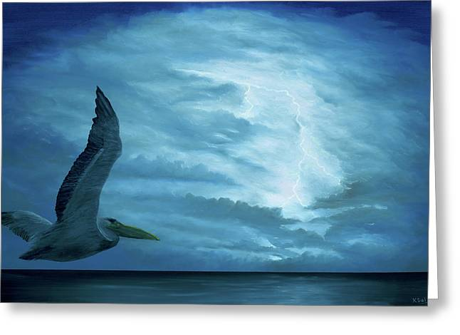 Greeting Card featuring the painting Out Of The Blue by Kevin Daly