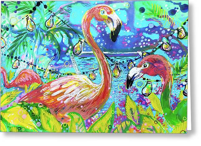 Outdoor Flamingo Party Greeting Card