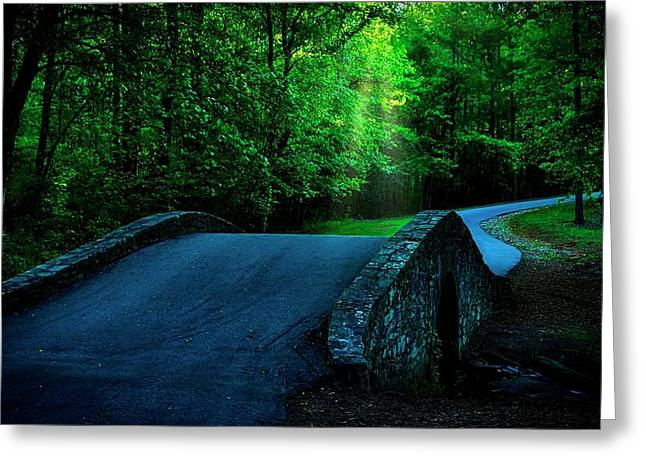 Over The Bridge And Through The Woods Greeting Card