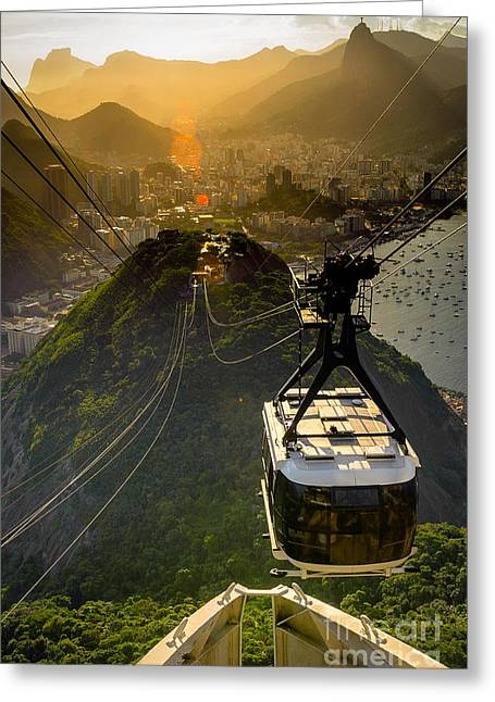 Overhead Cable Car Approaching Greeting Card