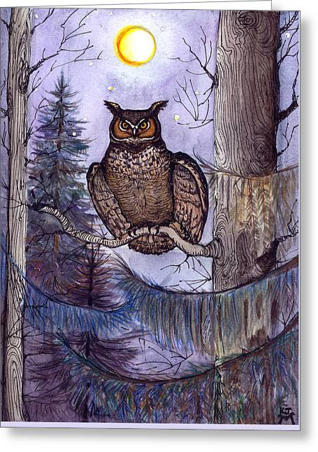 Owl Amid The Evergreen Greeting Card