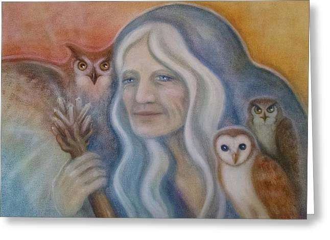Owl Crone Greeting Card