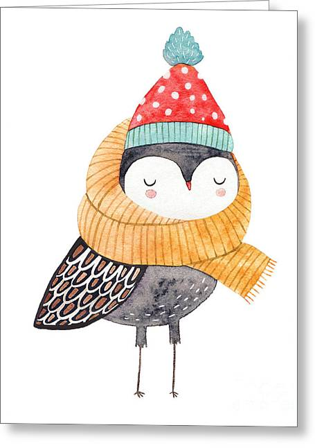 Owl In A Scarf And Hat - Watercolor Greeting Card