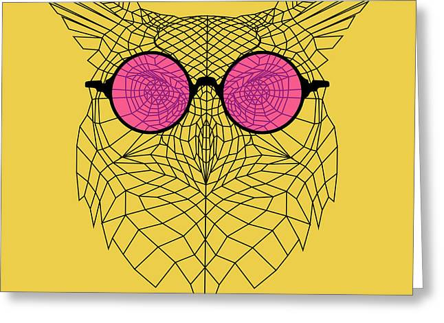 Owl In Pink Glasses Greeting Card