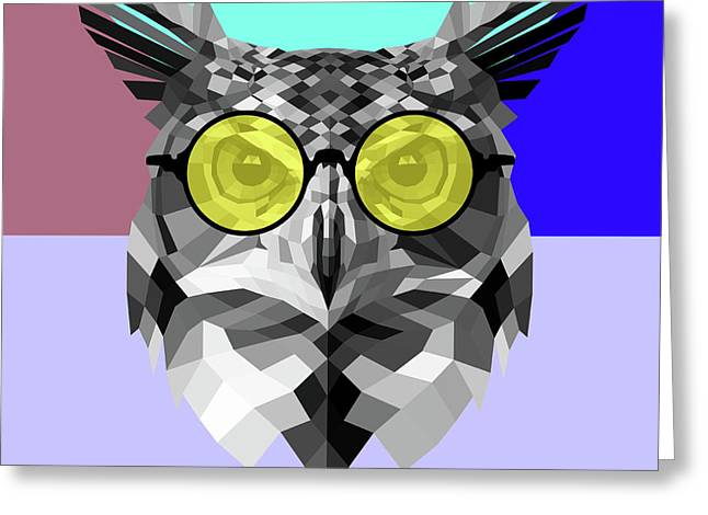 Owl In Yellow Glasses Greeting Card