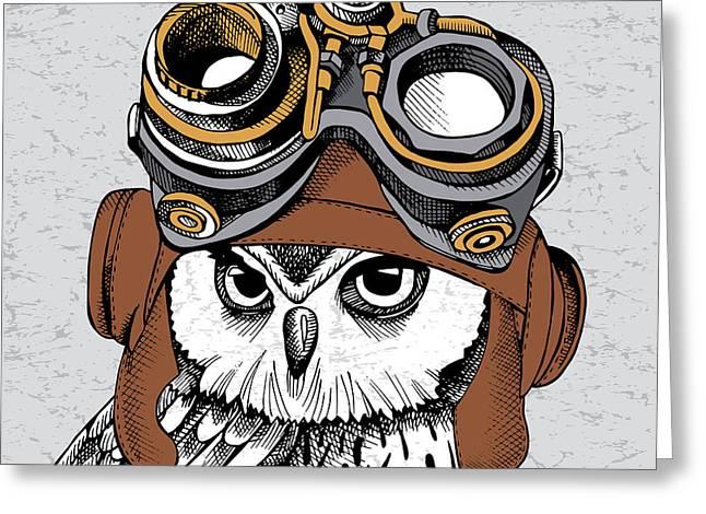 Owl Portrait In A Steampunk Helmet Greeting Card