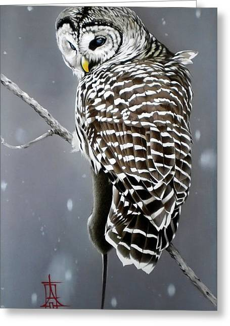 Owl With Her Catch Greeting Card