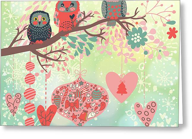 Owls On The Branch In Leafs And Hearts Greeting Card